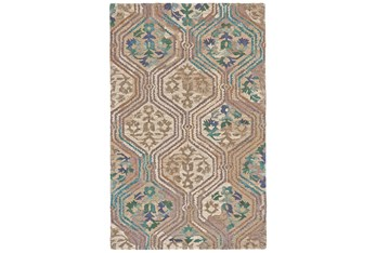 5'x8' Rug-Green And Taupe Floral Geometric
