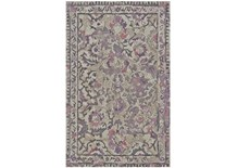 93x117 Rug Lilac And Grey Traditional Floral Living Spaces