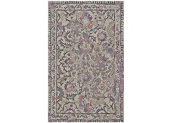 60X96 Rug-Lilac And Grey Traditional Floral