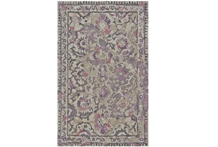 93X117 Rug-Lilac And Grey Traditional Floral