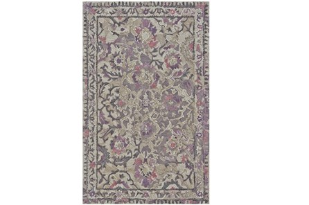 102X138 Rug-Lilac And Grey Traditional Floral