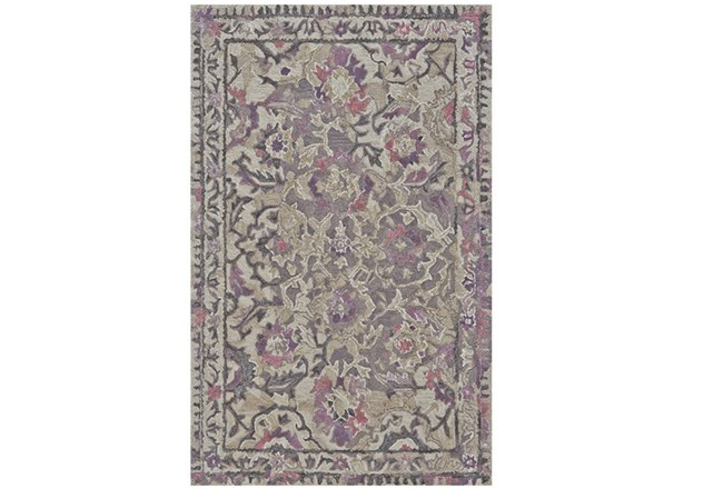 102X138 Rug-Lilac And Grey Traditional Floral - 360