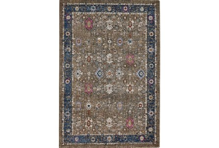 94 Inch Round Rug-Blue And Mocha Parisian Traditional