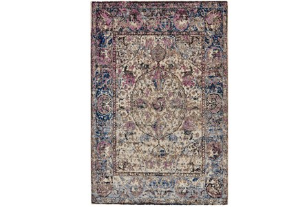 26X48 Rug-Magenta And Blue Parisian Medallion Border