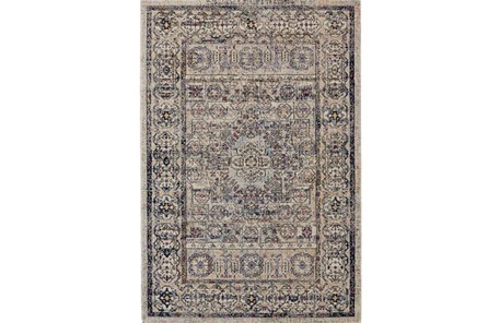 63X91 Rug-Beige And Lilac Parisian Medallion Border - Main