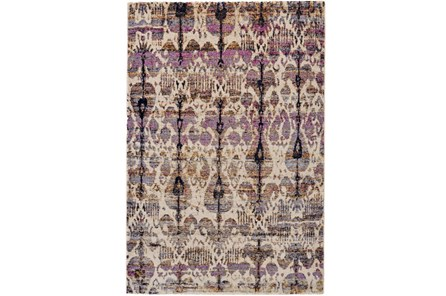 94X130 Rug-Purple And Beige Parisian Ikat - Main