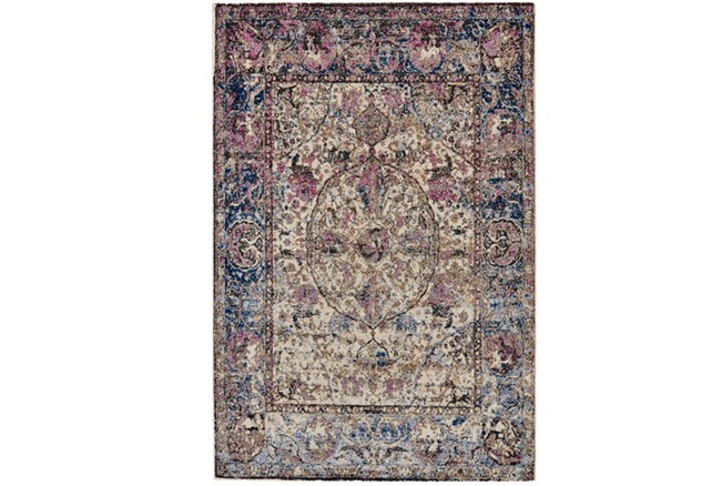 94X130 Rug-Magenta And Blue Parisian Medallion Border - 360