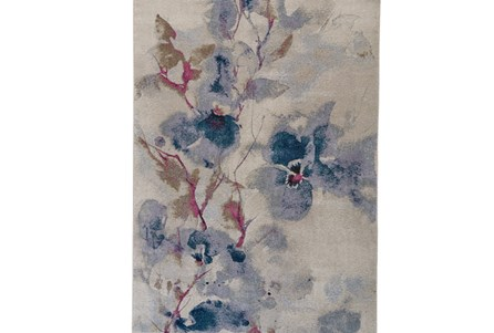 94X130 Rug-Blue And Coral Watercolor Floral