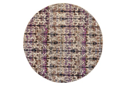 94 Inch Round Rug-Purple And Beige Parisian Ikat