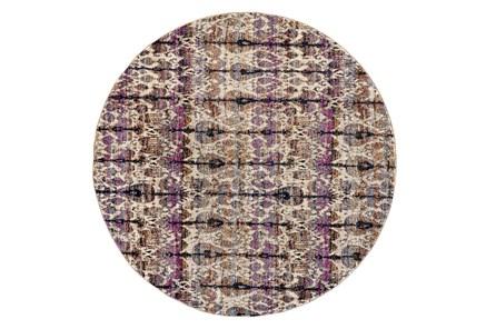 94 Inch Round Rug-Purple And Beige Parisian Ikat - Main