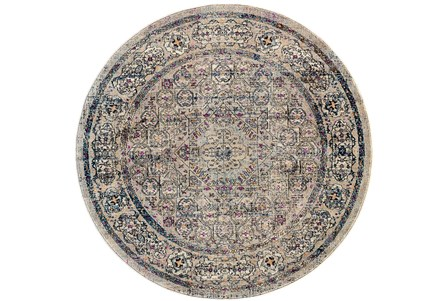 94 Inch Round Rug-Beige And Lilac Parisian Medallion Border