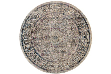 94 Inch Round Rug-Beige And Lilac Parisian Medallion Border - Main