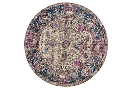 94 Inch Round Rug-Magenta And Blue Parisian Medallion Border