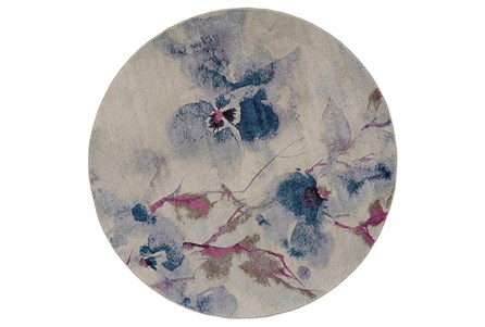 94 Inch Round Rug-Blue And Coral Watercolor Floral