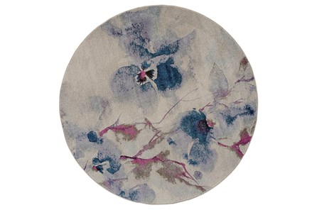 94 Inch Round Rug-Blue And Coral Watercolor Floral - Main