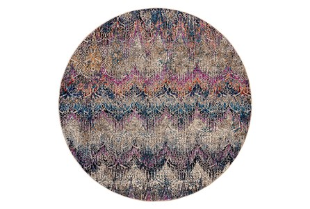 94 Inch Round Rug-Magenta And Orange Ombre Ikat