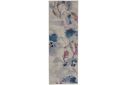 31X90 Rug-Blue And Coral Watercolor Floral