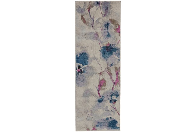 31X90 Rug-Blue And Coral Watercolor Floral - 360