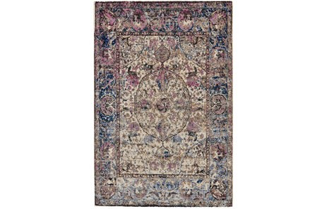 120X168 Rug-Magenta And Blue Parisian Medallion Border - Main
