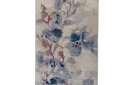 120X168 Rug-Blue And Coral Watercolor Floral - Main