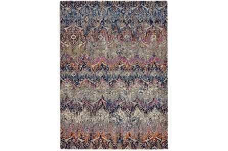 120X168 Rug-Magenta And Orange Ombre Ikat - Main