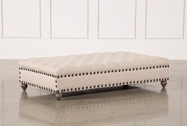 Beige Studded And Tufted Ottoman