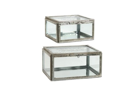 2 Piece Set Gold & Glass Boxes