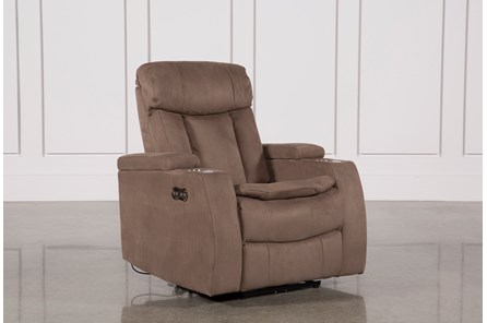 Celebrity Taupe Home Theater Recliner W/Power Headrest
