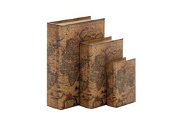 3 Piece Set Map Leather Book Boxes