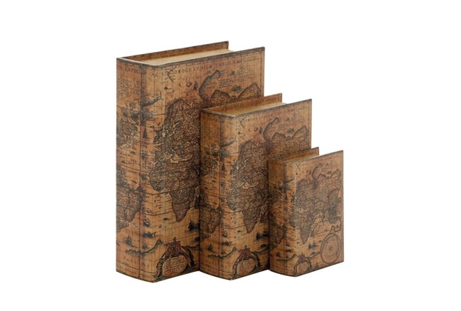 3 Piece Set Map Leather Book Boxes - 360