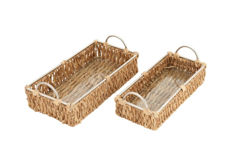2 Piece Set Wicker & Metal Long Baskets