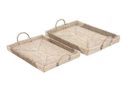 2 Piece Set Seagrass Trays