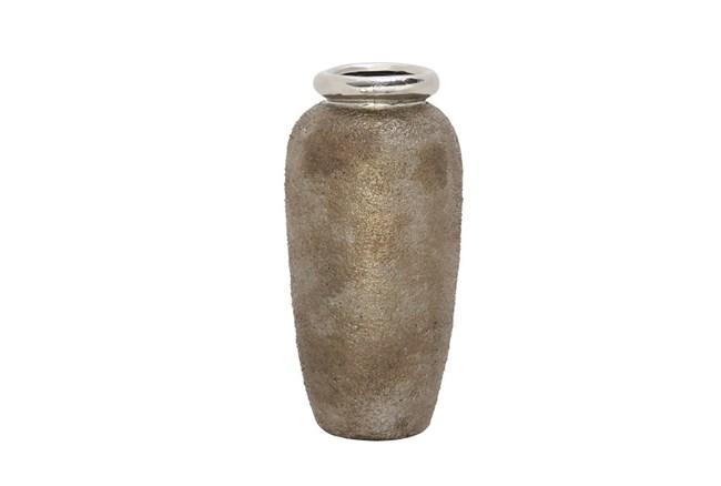 16 Inch Metallic & Stone Finish Vase - 360