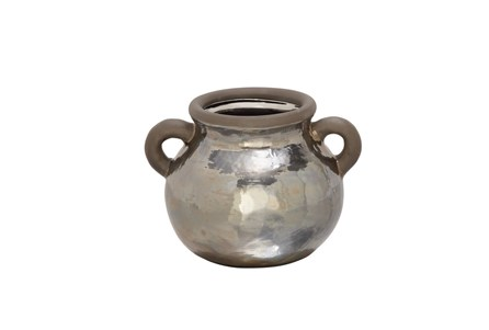 7 Inch Metallic Hammered Pot