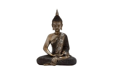 Resin Black And Brown Sitting Buddha - Main