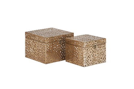 2 Piece Set Bronze Square Boxes - Main
