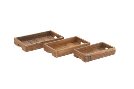 3 Piece Set Wood Crate Trays - Main