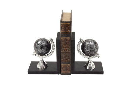 Black And Silver Globe Bookends