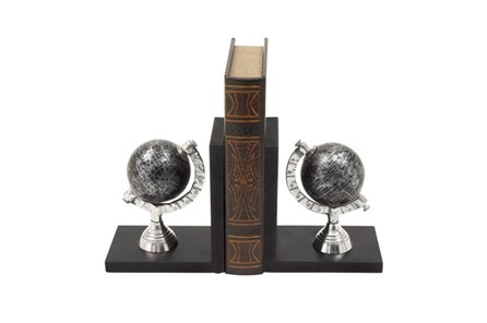 Black And Silver Globe Bookends - Main