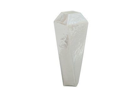 14 Inch White Glass Vase