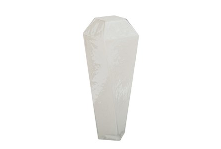 18 Inch White Glass Vase