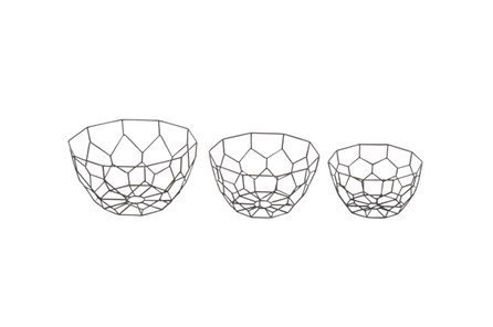 3 Piece Set Black Metal Dishes - Main