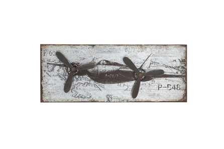 18 Inch Metal Airplane Plaque
