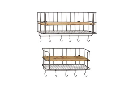 2 Piece Set Metal Wood Wall Shelf Hook