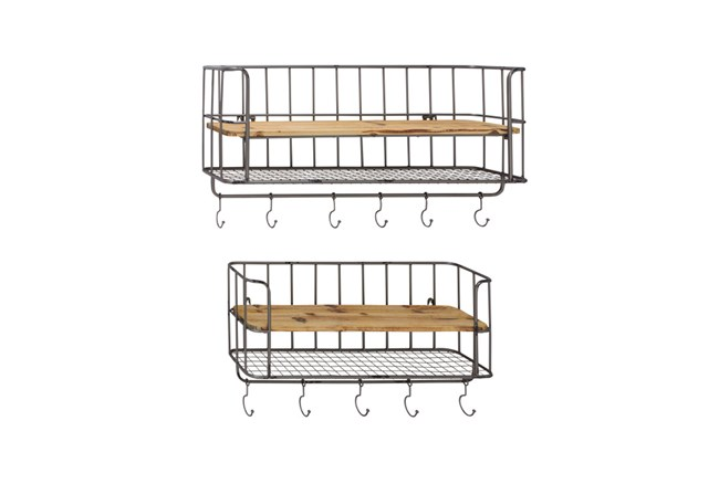 2 Piece Set Metal Wood Wall Shelf Hook - 360