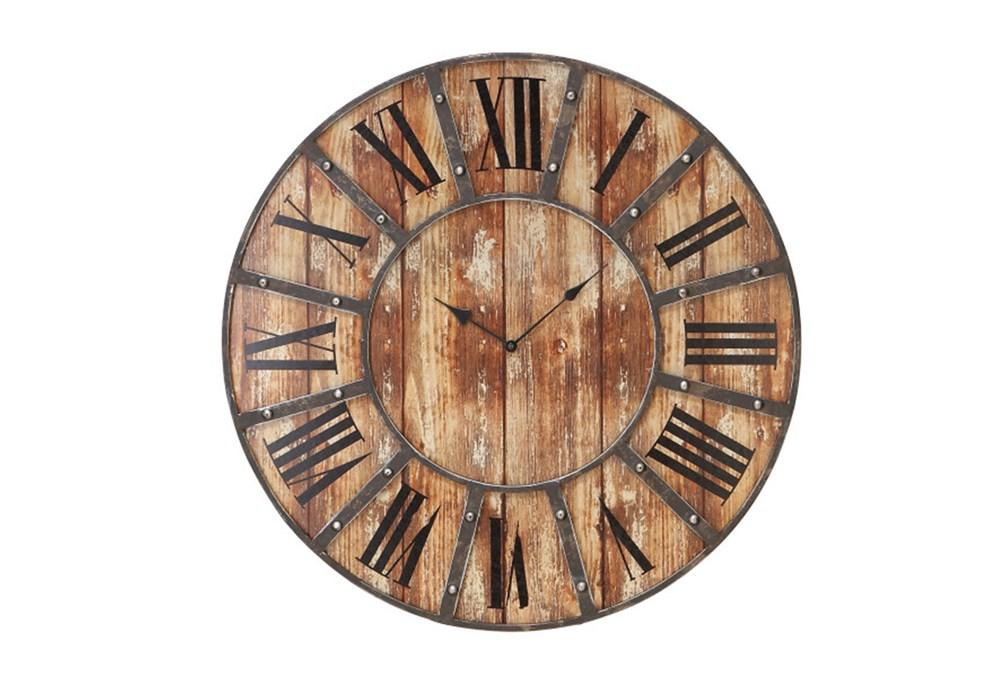 24 Inch Round Dark Metal Wood Wall Clock