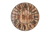 24 Inch Round Dark Metal Wood Wall Clock - Signature