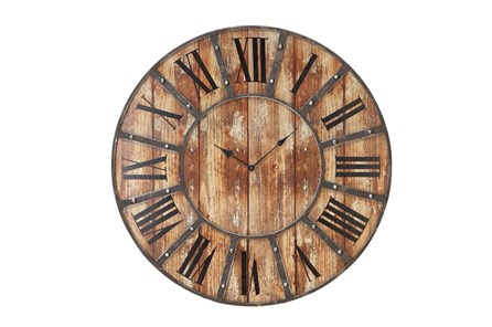 24 Inch Round Dark Metal Wood Wall Clock - Main