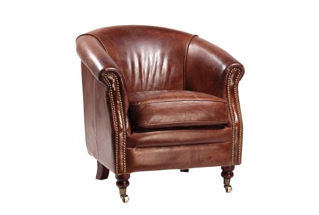 Full Italian Top Grain Cowhide Chair Living Spaces