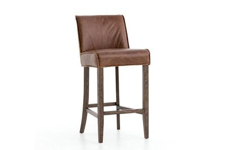 Chestnut Leather Barstool - Main